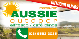 *Aussie Outdoor Alfresco / Café Blinds - Blinds Mandurah - INTEREST FREE FINANCE AVAILABLE