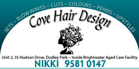 *Cove Hair Design - Mandurah Hairdresser Located at Brightwater Aged Care Facility Dudley Park - OPEN TO PUBLIC